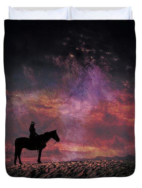White Sands Horse And Rider #4c Duvet Cover