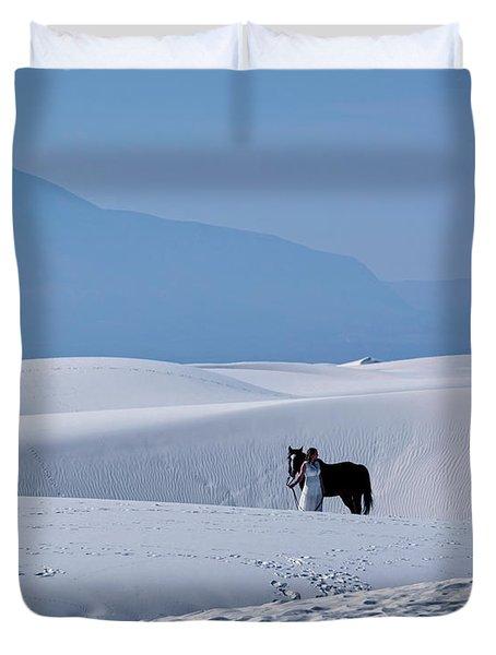 White Sands Horse And Rider #5b Duvet Cover
