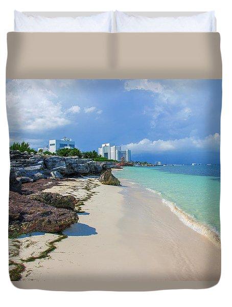 White Sandy Beach Of Cancun Duvet Cover