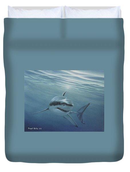 White Shark Duvet Cover by Angel Ortiz