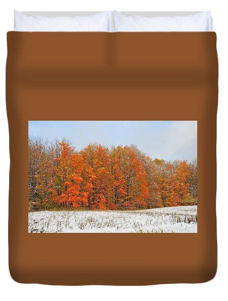 White Snow In Autumn Duvet Cover