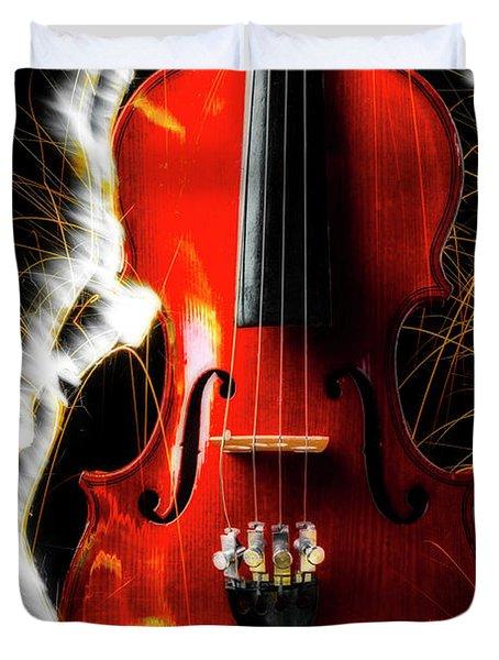 White Sparks And Violin Duvet Cover