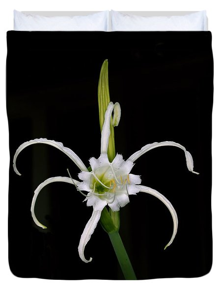 Duvet Cover featuring the photograph White Spider Lily by Kenny Glotfelty