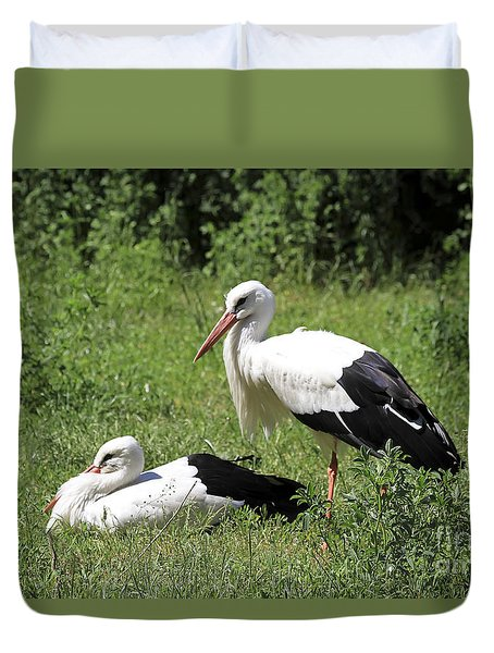 White Storks Duvet Cover