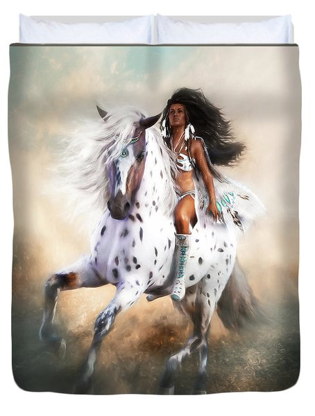 Duvet Cover featuring the digital art White Storm by Shanina Conway