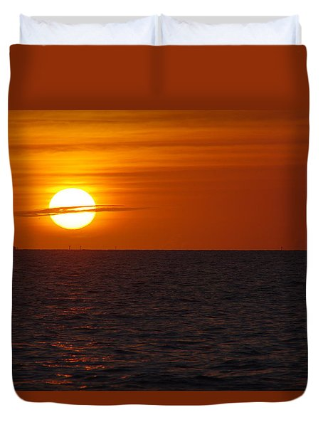 White Street Pier Sunrise Duvet Cover by Greg Graham