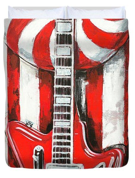 White Stripes Guitar Duvet Cover