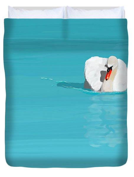 White Swan Blue Lake Duvet Cover
