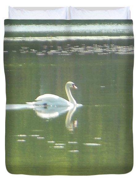 White Swan Silhouette Duvet Cover