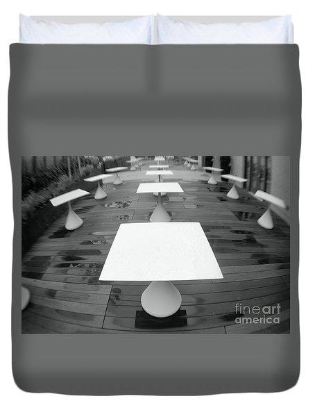 White Tables Duvet Cover