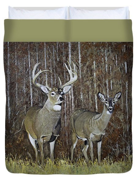 White Tail Couple 24x 24x3/4 Inch Oil On Canvas Duvet Cover