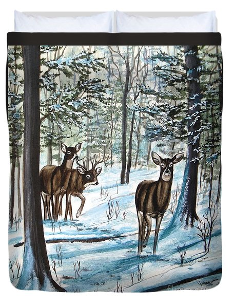 Duvet Cover featuring the painting White Tail Deer In Winter by Patricia L Davidson