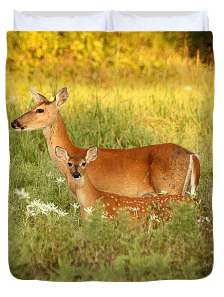 White-tail Doe And Fawn In Meadow Duvet Cover