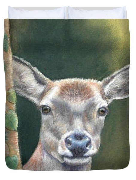 White Tail Doe At Ancon Hill Duvet Cover by Ceci Watson