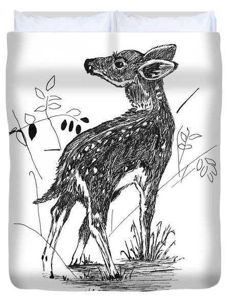 White-tail Fawn -pen And Ink Duvet Cover