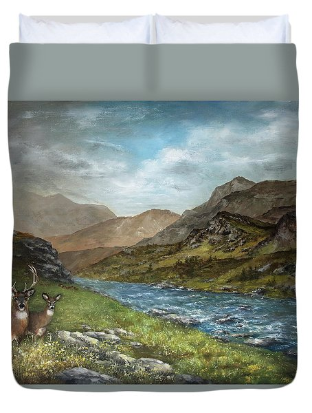 White Tail Meadow Duvet Cover by David Jansen
