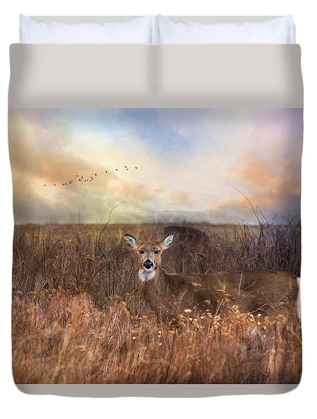 Duvet Cover featuring the photograph White Tail by Robin-lee Vieira