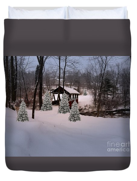 White Tailed Buck At Belmont N H Covered Bridge Duvet Cover by Mim White