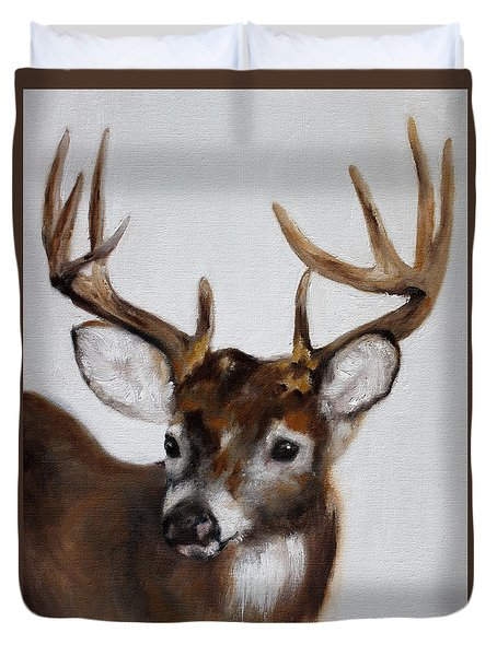 Duvet Cover featuring the painting Whitetail Deer by Barbie Batson