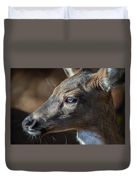 White Tailed Deer Facial Profile Closeup Portrait Duvet Cover