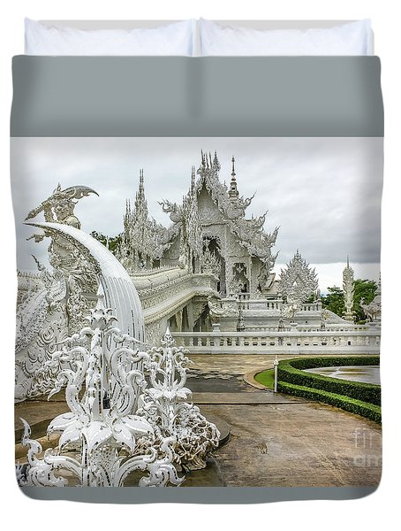 White Temple Thailand Duvet Cover