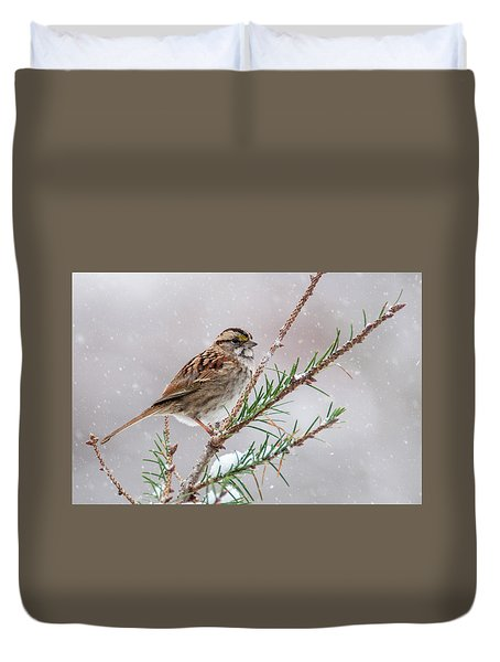 White Throated Sparrow Duvet Cover