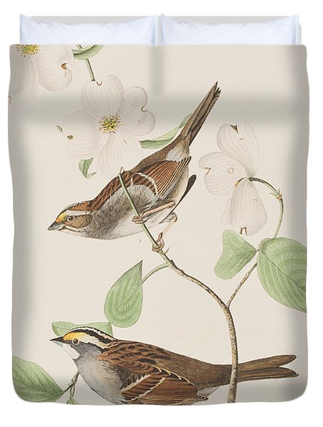White Throated Sparrow Duvet Cover by John James Audubon