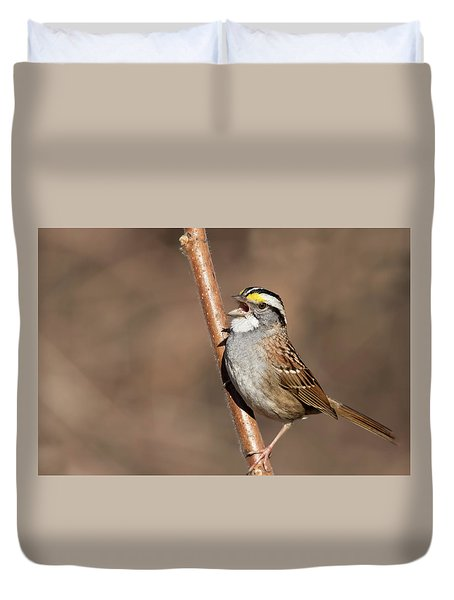 Duvet Cover featuring the photograph White-throated Sparrow by Mircea Costina Photography