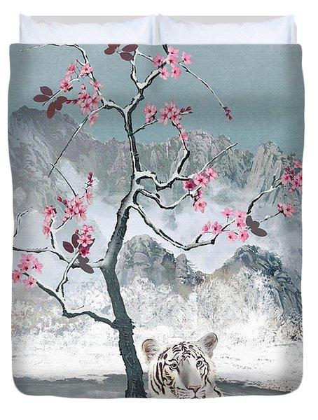 White Tiger And Plum Tree Duvet Cover