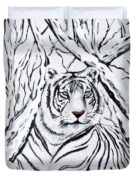 Duvet Cover featuring the painting White Tiger Blending In by Teresa Wing