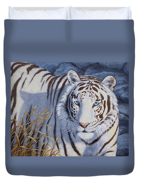 White Tiger - Crystal Eyes Duvet Cover by Crista Forest