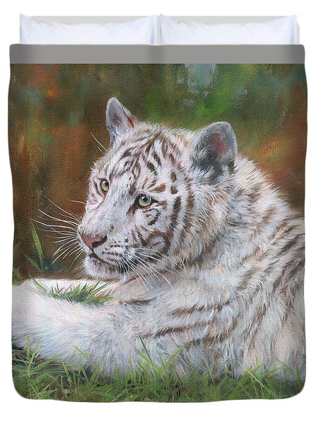 Duvet Cover featuring the painting White Tiger Cub 2 by David Stribbling