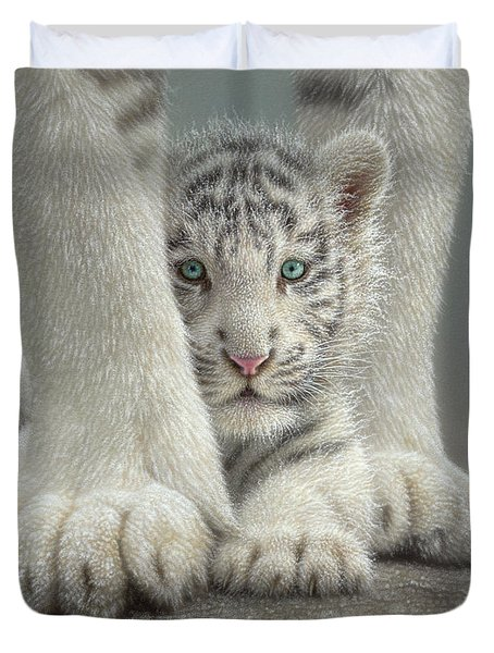 White Tiger Cub - Sheltered Duvet Cover