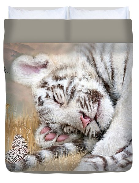 Duvet Cover featuring the mixed media White Tiger Dreams by Carol Cavalaris