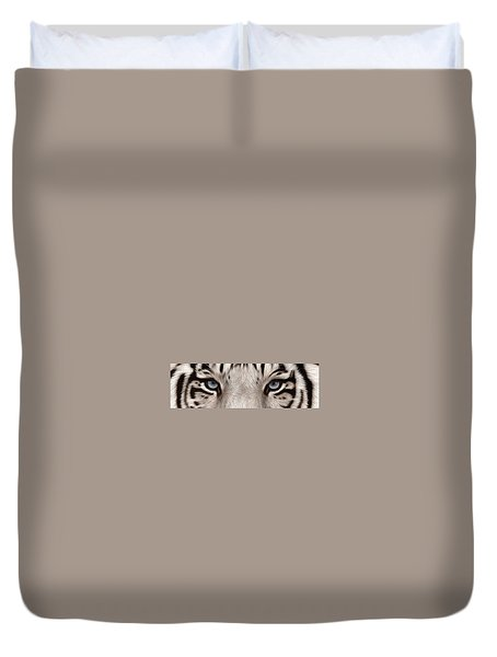 White Tiger Eyes Duvet Cover