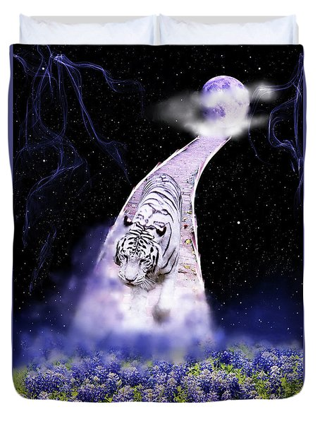 White Tiger Fantasy Duvet Cover