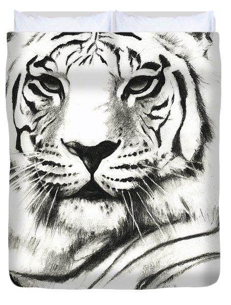 White Tiger Portrait Duvet Cover