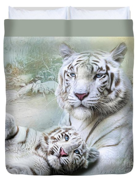 Duvet Cover featuring the digital art  White Tiger by Trudi Simmonds