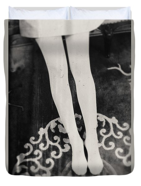 Duvet Cover featuring the photograph White Tights by Andrey  Godyaykin