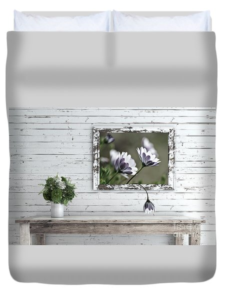 Duvet Cover featuring the photograph White Timber Cottage By Kaye Menner by Kaye Menner
