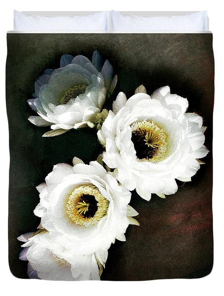White Torch Blooms Duvet Cover