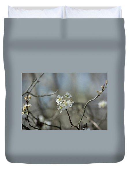 White Tree Bud Duvet Cover