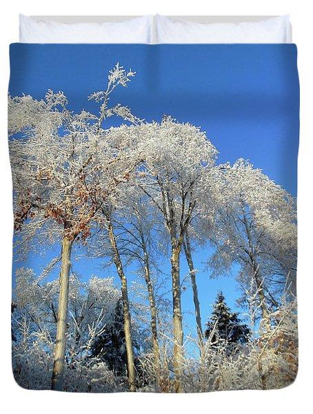 White Trees Clear Skies Duvet Cover