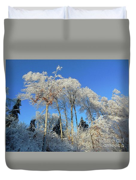 White Trees Clear Skies Duvet Cover