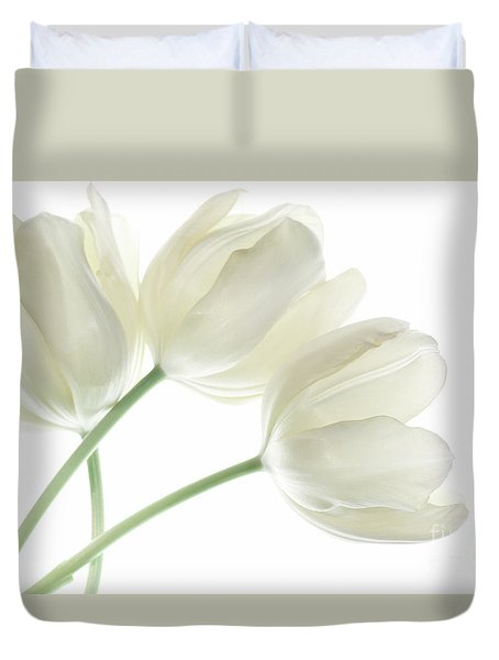 Duvet Cover featuring the photograph White Tulip Flowers by Charline Xia