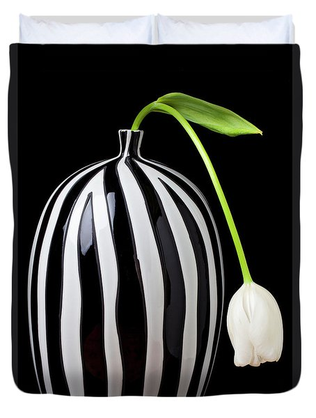 White Tulip In Striped Vase Duvet Cover