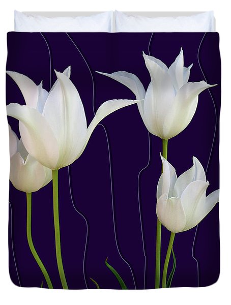 White Tulips For A New Age Duvet Cover