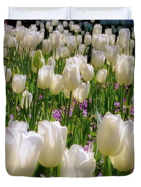 Duvet Cover featuring the photograph White Tulips In Bloom by D Davila