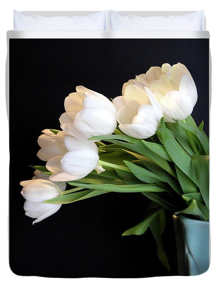 White Tulips In Blue Vase Duvet Cover by Julia Wilcox