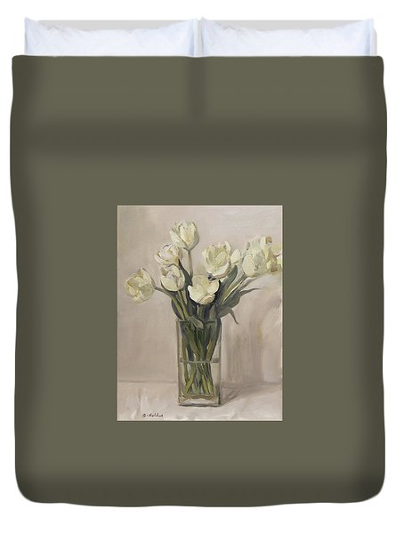 White Tulips In Rectangular Glass Vase Duvet Cover